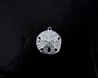 One Sterling Silver Sand Dollar Charm 18x21mm, Made in USA