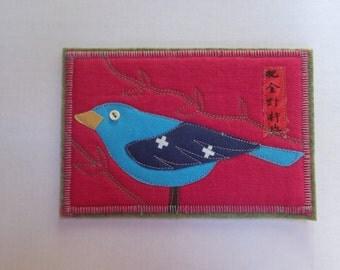 Quilted Fabric Post Card - Bluebird - Art Card Mail Art