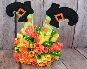 """4"""" Halloween Bow, Witch Korker, Witch's Shoes Korker, Orange Bow"""