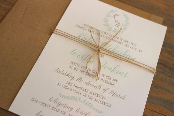 Rustic Laurel Wedding Invitation, Simple Wedding Invites, Country Wedding Invitations, Twine Wedding Invitation, Barn Wedding Invitation Set