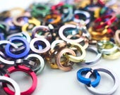 """100 Anodized Aluminum Square Wire Jump Rings - 14 gauge 10mm ID - 3/8"""""""