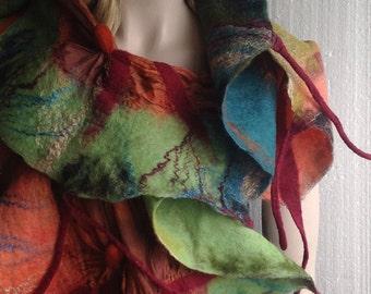 SALE - Nuno felted Scarf Aubergine  Petrol Sand Tobacco Coral Mustard  Apple green Attractive Ruffled Textured Wool Silk Reversible