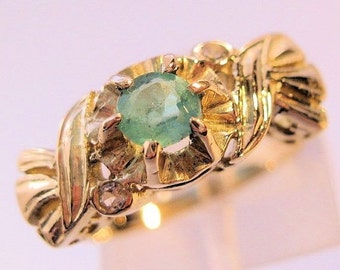 XMAS SALE Vintage .3ct Emerald 14k Yellow Gold & Diamond Ring Size 6 Jewelry Jewellery