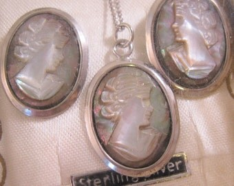 1940's Italian Cameo Pendant Necklace & Earrings Set Sterlinng Silver with Original Box