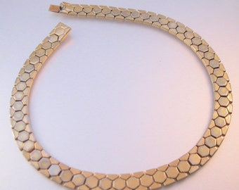 "SALE ON Ends 4/30 1950s CROWN Trifari Gold Tone Choker Link Chain Necklace 14.25"" Vintage Jewelry Jewellery"