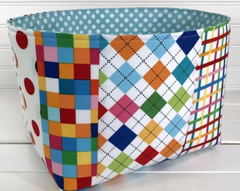 Storage Bin,Organizer Basket,Bin, Rainbow Nursery Decor,Fabric Basket Bin,Home Decor,Rainbow, Bright, Plaid, Argyle,Patchwork,Red,Aqua Blue