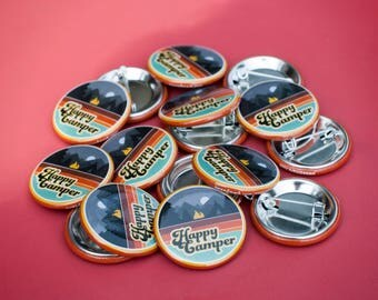 HAPPY CAMPER Pinback Button : Retro Buttons, Adventure Buttons, Camping Buttons, Campfire, Retro Stripes, Badge