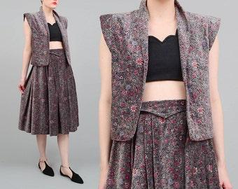 70s Velveteen Skirt + Vest 2 Pc Set Gray Floral Skirt Cotton Velvet Vintage Cropped Vest Full Pleated Midi Skirt Two Piece ITALY XS S
