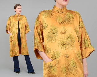 60s Kimono Jacket Gold Brocade Robe Asian Mandarin Collar Duster Jacket made in Japan Small Medium S M
