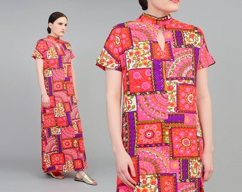 Vintage 70s Patchwork Floral Dress | Asian Cheongsam Dress | Keyhole Neckline | Psychedelic Maxi Dress | Pink Purple Red - Small S