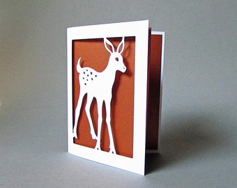 Baby Deer Fawn Art Card - Baby Animal Silhouette Cut Paper Art Nature Gift