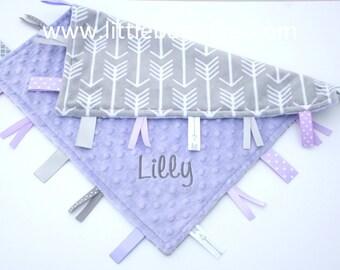 Personalized Lovey Baby Tag Blanket - Lilac Minky with Gray Arrow Minky