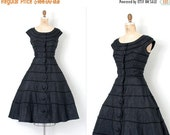 40% OFF ONE DAY Sale... vintage 1950s dress / 50s black silk party dress / Scallops Edge