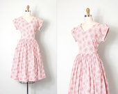 vintage 1950s dress / pink floral print 50s dress  (small s)