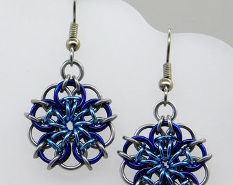 Blue Celtic Star Earrings, blue star, arctic earrings, ice earrings, celtic earrings, frozen jewelry, delicate earring, chainmaille earring