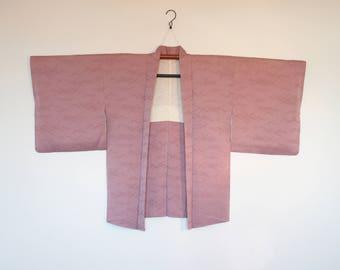 Japanese Kimono Cardigan Pinkish Purple With Abstract Pattern 四