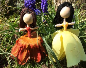 flower doll, miniature fairy, miniature doll, flower fairy doll, fairy doll, flower fairy, Garden fairy, garden doll