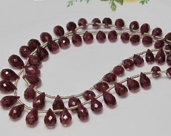 """5"""" Strand - Gorgeous Genuine RUBY Faceted Drop Briolettes"""