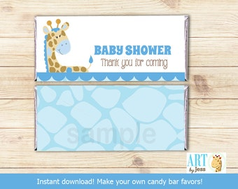 Blue Giraffe Jungle Baby Shower Hershey Candy Bar Wrapper INSTANT DOWNLOAD bs-025