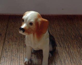 Vintage Ceramic Beagle Figurine , Brown Dog Statue ,Vintage Dog