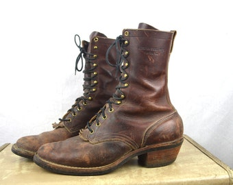 Rare Hathorn Spokane Distressed Leather Lacer Sport Boots - Size 10 EE