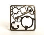 Recycled Steel Brooch/Scrapyard Brooch/Junk Brooch