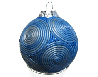 Blue Pearl Filigree Ball Ornament, Polymer Clay Ombre Gradient Swirls, Christmas Ball Holiday Decor
