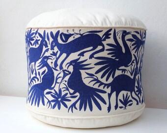 Cobalt blue Pouf Flour Cushion Ottoman