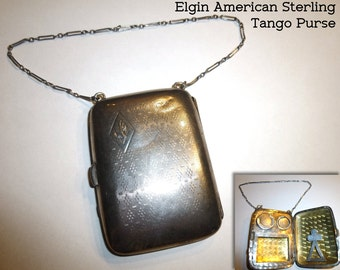 Sterling Silver Elgin American  Tango Purse Coin Token Holder Compact Vintage. 1930.