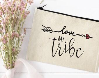Canvas Makeup Bag - Make Up Pouch - Canvas pouch - Cosmetic pouch - Cosmetic Bag - Makeup Organizer - Love My Tribe Bag - Boho Canvas Bag
