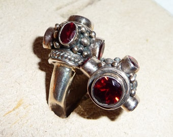 Huge Sterling Silver and Garnet Bi-Pass Ring on Etsy by APURPLEPALM