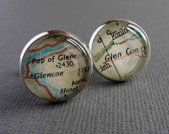Silver Map Cufflinks, Personalised for Men, Gift for Dad