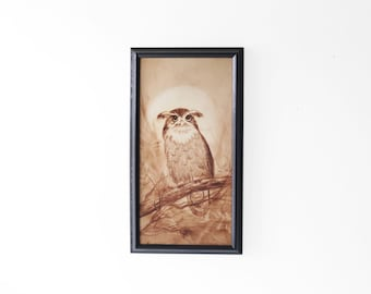 Vintage Framed Owl Canvas Painting