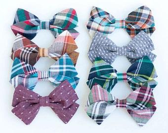 Hair Bow, Bow Headband, Headband, Headbands, Fabric Hair Bow, Hair Clip, Baby Bow, Plaid Bow, Alligator Clip, Bow - Fall/Winter Collection