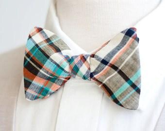 Bow Ties, Bow Tie, Bowties, Mens Bow Ties, Freestyle Bow Ties, Self-Tie Bow Ties, Ties, Plaid Bowties - Brown, Cream, Aqua, Orange Plaid