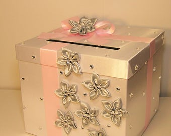 Wedding Card Box White, Silver and Baby / Light Pink Gift Card Box Money Box  Holder--Customize your color
