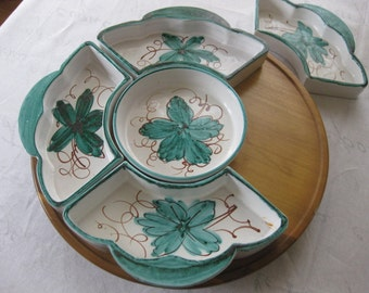 Vintage Italian Ceramic Chip and Dip Condiment Set with Lazy Susan, Italy Stamped and Numbered, Green Flower Petal Pottery