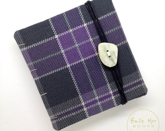 Handmade journal / sketchbook / diary, Iona Community tartan with Iona marble button, blank book, artist gift, writer gift