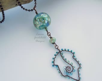 Lampwork and wire pendant, leaf pendant, aqua glass pendant, flower pendant, flower bead necklace, copper necklace, copper leaf necklace
