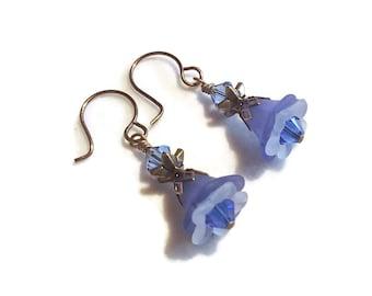 Acrylic Flower Dangle Earrings Feminine Vintage Style Earrings Flower Dangle