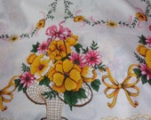 Large vintage flower basket table cloth floral