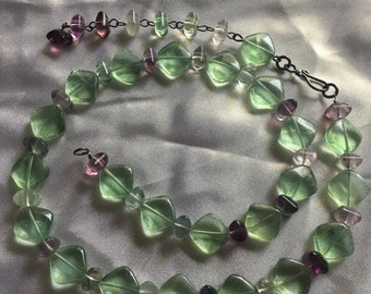 Green and purple Fluorite necklace