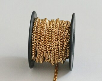 Gold Plated Curb Chain 3mm, Spooled Chain, 14 feet