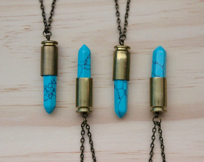 Turquoise Stone Bullet Casing Pendant Necklace, choose your own necklace length.