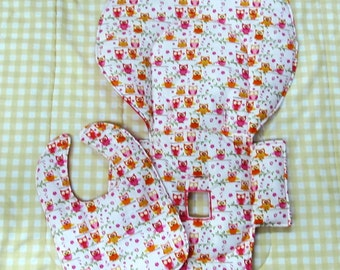 high chair cushion, Evenflo high chair cover with matching bib, highchair replacement pad,cushion, feeding furniture, child care, girly owls