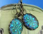 Teal Blue and Green Starburst Vintage Glass Fire Opal Dangle Earrings with Antique Silver Setting and Earwire