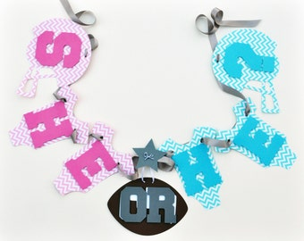 Football baby shower decorations Gender Reveal She or He pink and blue chevron banner by ParkersPrints on Etsy NEW Larger Size