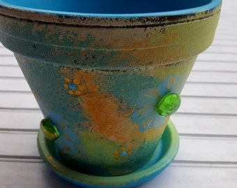 Painted Flower Pot - Rustic Planter - Earthy Colors