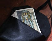 All black all upcycled - soft tarot pouch in black leather
