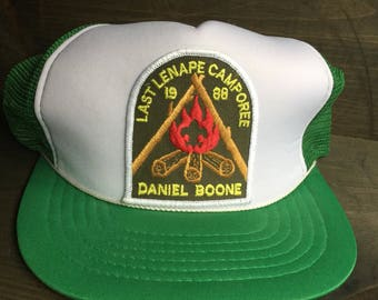 Vintage Boy Scouts Camporee, Snapback 1980s Retro, Foam and Mesh Trucker Hat, Camping, Campfire, Boy Scout Patch, Lenape, Daniel Boone